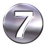 Silver Framed Number 7. 3D Silver Framed Number 7 Stock Photography