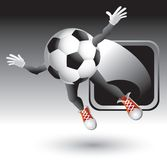 Silver framed soccer ball character Royalty Free Stock Images