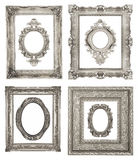 Silver frames. Set of ornamental silver frames isolated on white background Stock Image