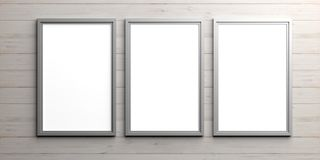 Silver frames on wooden background. 3d illustration Royalty Free Stock Images