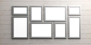 Silver frames on wooden background. 3d illustration Royalty Free Stock Photo