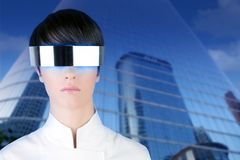 Silver futuristic businesswoman mirror buildings Royalty Free Stock Image