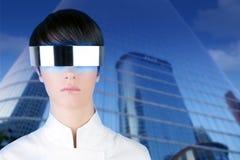 Silver futuristic businesswoman mirror buildings Royalty Free Stock Image