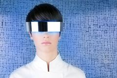 Silver futuristic glasses modern woman portrait Royalty Free Stock Images
