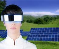 Silver futuristic glasses woman solar plates Stock Photo