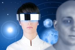 Silver futuristic glasses woman space planets Stock Photography