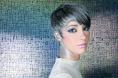 Silver futuristic hairstyle makeup portrait. Future woman wallpaper background Stock Photo