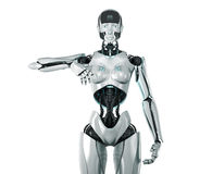 Silver futuristic woman. Stylish silver robot with one arm up (for your card (ad vector illustration