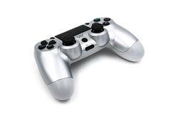 Silver Gaming Console Controller. (Back) isolated on White Background Royalty Free Stock Images