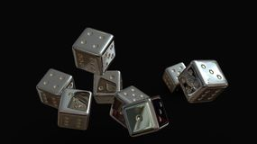 Silver Gaming dices 3d. Isolated on black background stock illustration