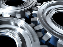 Silver gears. An illustration of silver gears on black Stock Photography