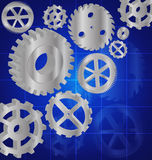 Silver gears 3D on the Blue background. Vector Stock Image