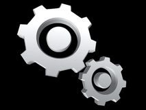 Silver gears isolated on black. Background Stock Photo