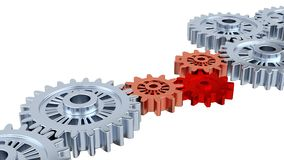 Silver Gears with One Red Turning. Silver Gears with One Red and Two Copper Turning stock video footage