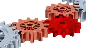 Silver Gears with Zoom effect on the One Red Turning. With white background stock video