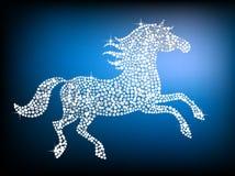 Silver gem horse. Shiny silver horse on a dark purple background stock illustration