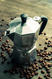 Silver geyser coffee maker. Device for kitchen Royalty Free Stock Image