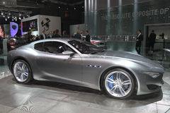 Silver Ghibli Maserati Paris Auto Show Stock Photo