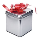 Silver gift box stock photo