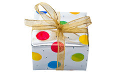 Silver Gift Box. With colored dots and gold ribbon isolated on white Royalty Free Stock Photo