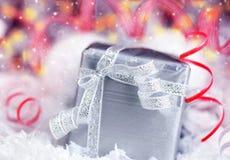 Silver gift box Stock Image