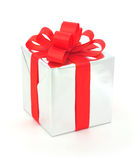 Silver gift box Royalty Free Stock Photo