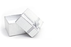 Silver gift-box Stock Photos