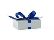Silver gift box. With blue ribbon Stock Photos