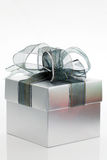 Silver gift box Royalty Free Stock Image