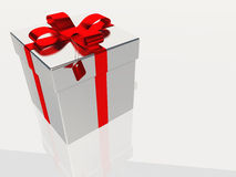 Silver gift box Royalty Free Stock Image