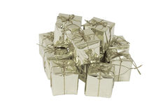 Silver gift box. stock photography