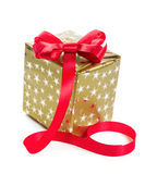 Silver gift box with a blue bow. Gift in gold box with a red bow. Isolate on white background Stock Images