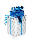 Silver gift box with blue ribbon. Isolated on white background Royalty Free Stock Images