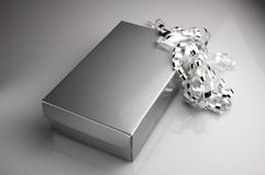 Silver gift box with bow. A silver gift box with decorative bow Royalty Free Stock Photo