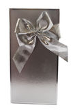 Silver gift box and bow Stock Image