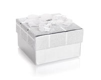 Silver gift box with bow and heart label Stock Photography