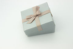 Silver gift box with a bow Stock Image
