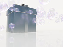 Silver gift box bubbles Royalty Free Stock Photography