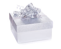 Silver Gift Box Stock Photo