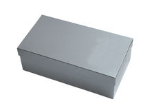 Silver gift box  isolated Stock Image