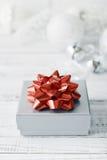 Silver gift box Stock Photos