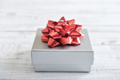 Silver gift box Stock Images