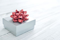 Silver gift box Royalty Free Stock Photos