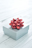 Silver gift box Stock Photography