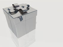 Silver gift box with ribbon bow Stock Photo
