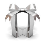 Silver gift box ribbon bow without box abstract concept on white background Stock Photos