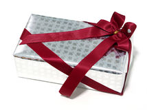 Silver Gift box rose texture with red ribbon, Isolated. Silver Gift box rose texture with red ribbon,Isolated Stock Photography