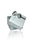 Silver Gift Box On White Background Stock Photo