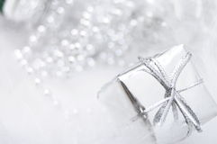 Silver gift box on white blur background Stock Photography