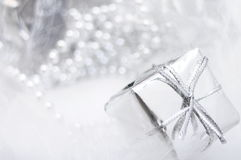 Silver gift box on white blur background Stock Image